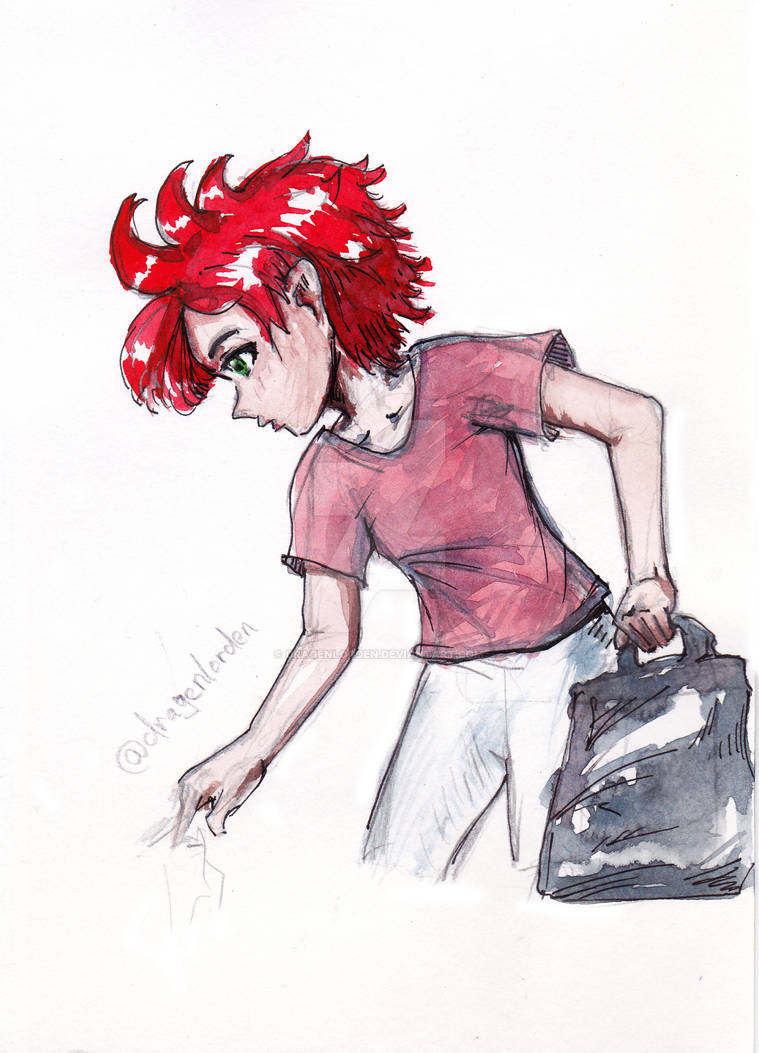 Anime character by watercolor
