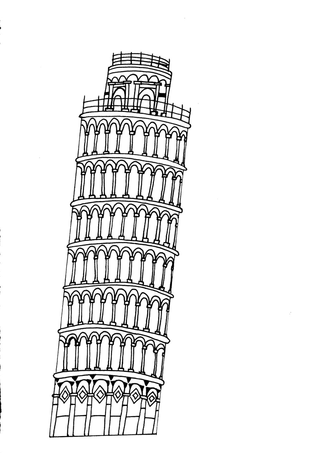 Leaning Tower Of Pisa Detail By Emzocreations On Deviantart Leaning Tower Of Pisa Coloring Page