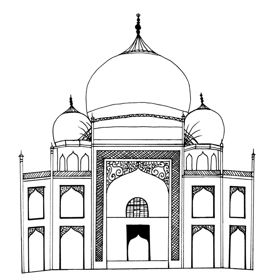 Taj Mahal Line Drawing Easy : The taj mahal detail by emzocreations on deviantart