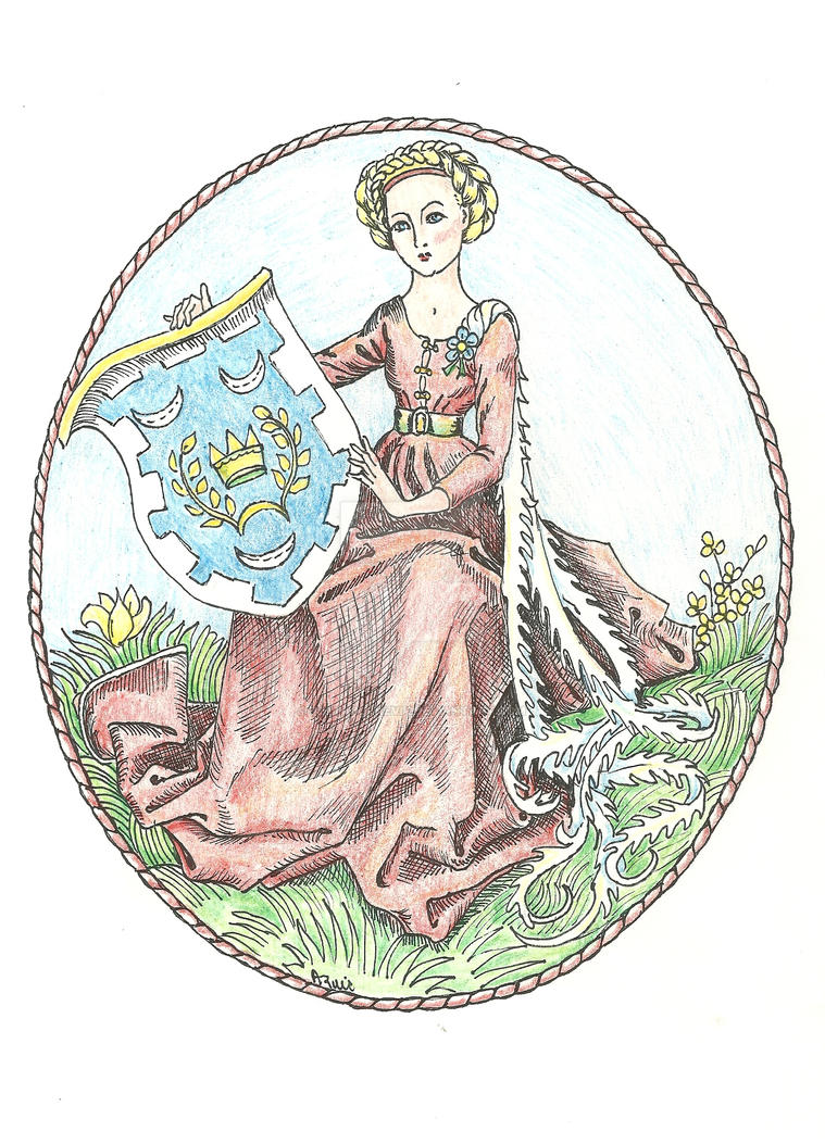 MEDIEVAL LADY WITH THE BADGE OF CIAD. by AnitaBurnevik