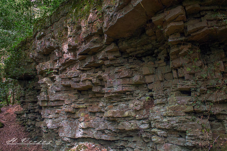 Rock wall Gorge de Villiers Orne France by hubert61