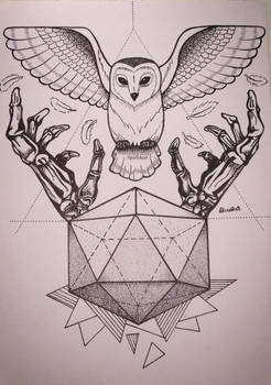 Owl and skeleton hands / Tattoo design