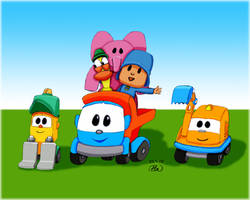 Leo the Truck, Pocoyo and their friends for my son