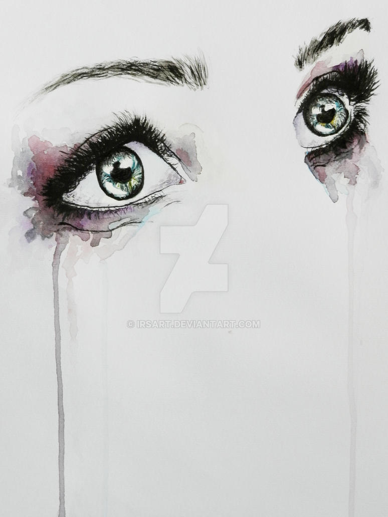 Dreamy eyes in watercolor by IRSart