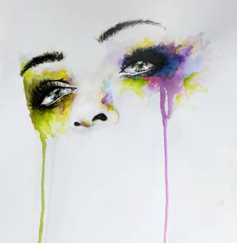 Missing you eyes in watercolor