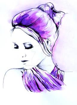 Rough day portrait in watercolor