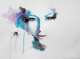 Watercolor surrealistic eyes portrait by IRSart