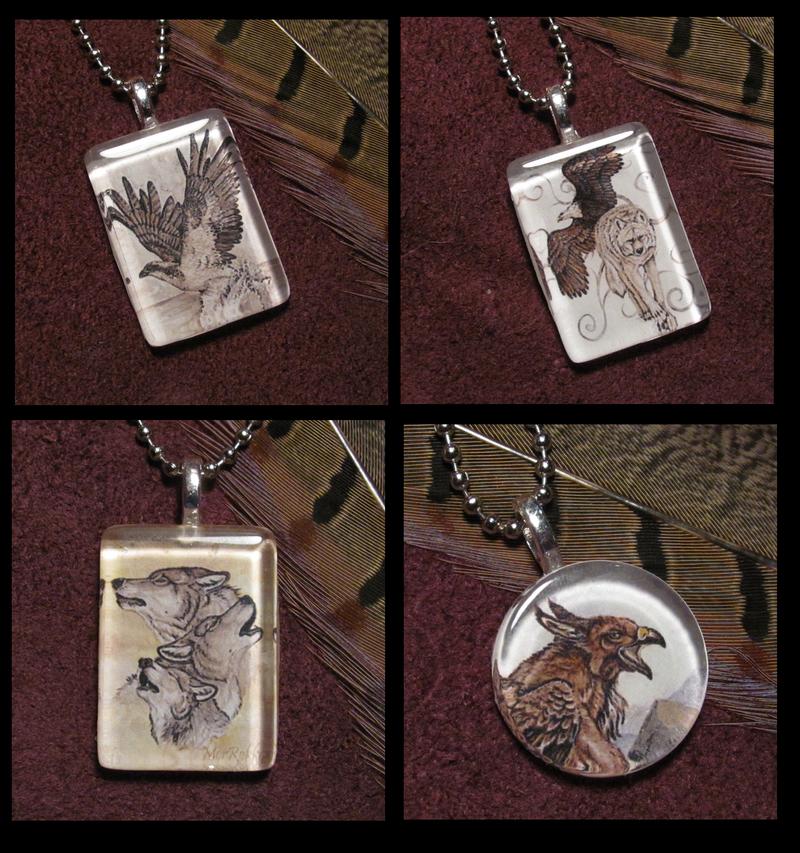 Wolf and Raptor Pendants by MorRokko