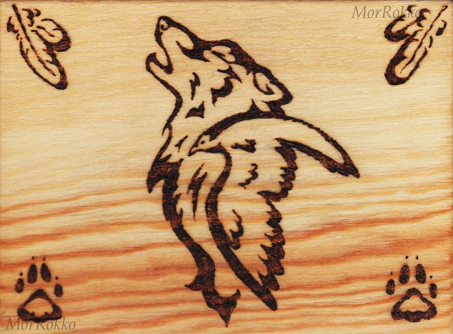 Wolf and raven wood burning by morrokko on deviantart