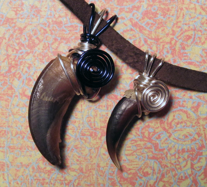 Blue Night Werewolf and Coyote Claw Pendants by MorRokko