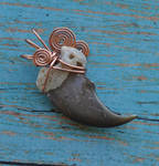 Copper Black Bear - Real Wire Wrapped Claw Pendant