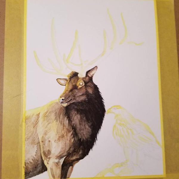 Work In Progress Elk and Eagle by MorRokko