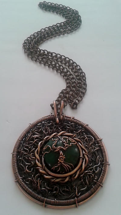 Tree of life Copper Wire Pendant with Africa Jade by TangledWorld on ...