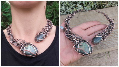 Statement wire wrapped necklace by TangledWorld
