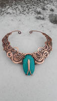Wire wrapped statement necklace with turquoise