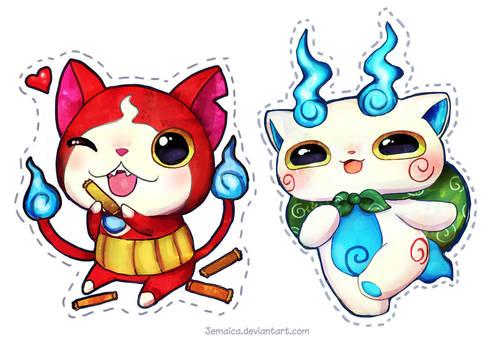 Jibanyan + Komasan Stickers!