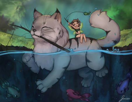 Fishing cat + fairy