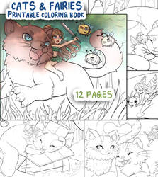 Cats and Fairies printable coloring book!