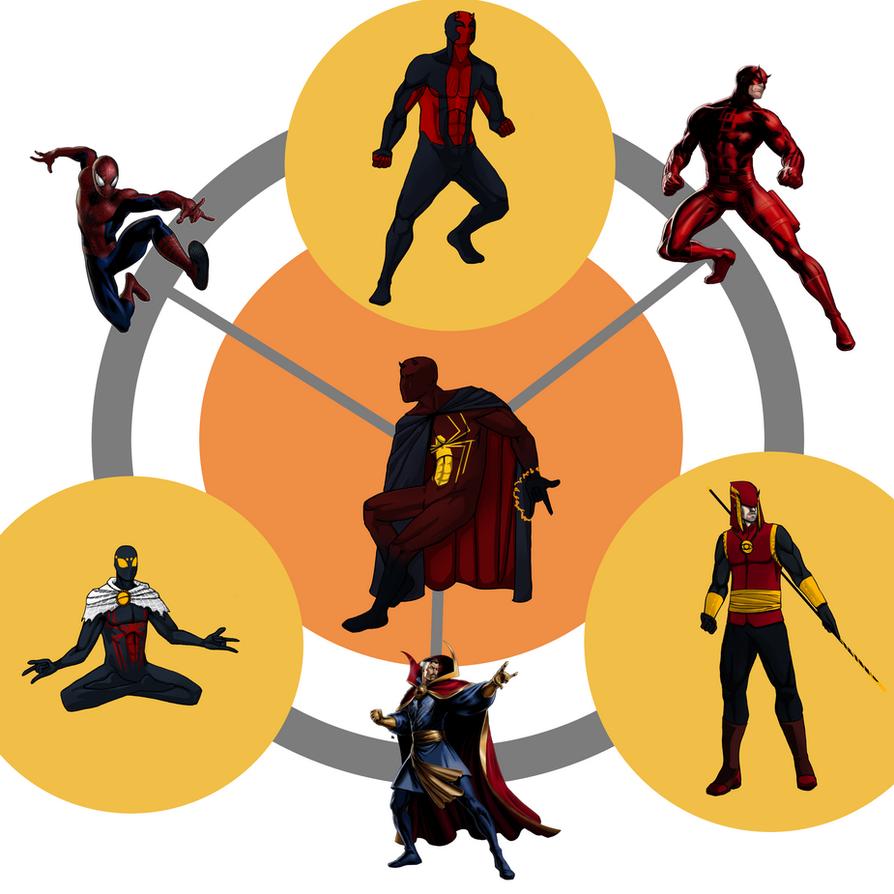 Spider-Man/Daredevil/Doctor Strange Hexafusion by AlanDjayce