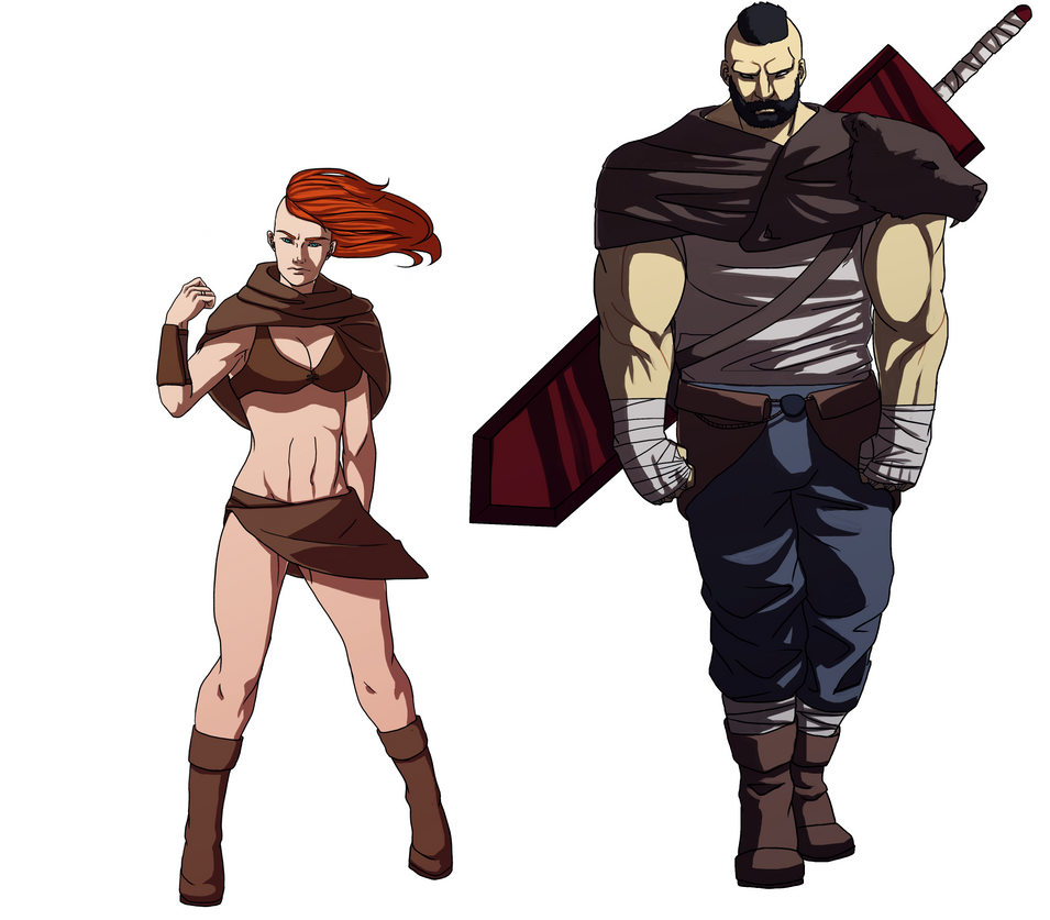 Barbarian Princess and Big Bodyguard - Commission! by AlanDjayce