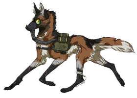 Masked maned wolf character design - commish by Wrennars