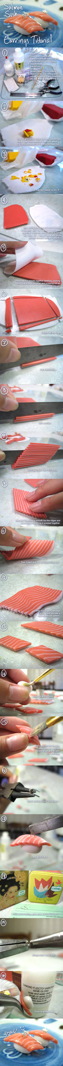 Salmon sushi earrings tutorial
