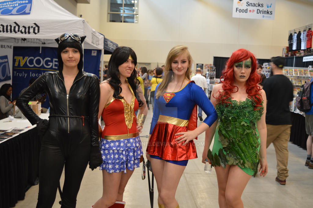 Catwoman Wonder Woman Supergirl And Poison Ivy By D Anthonie On
