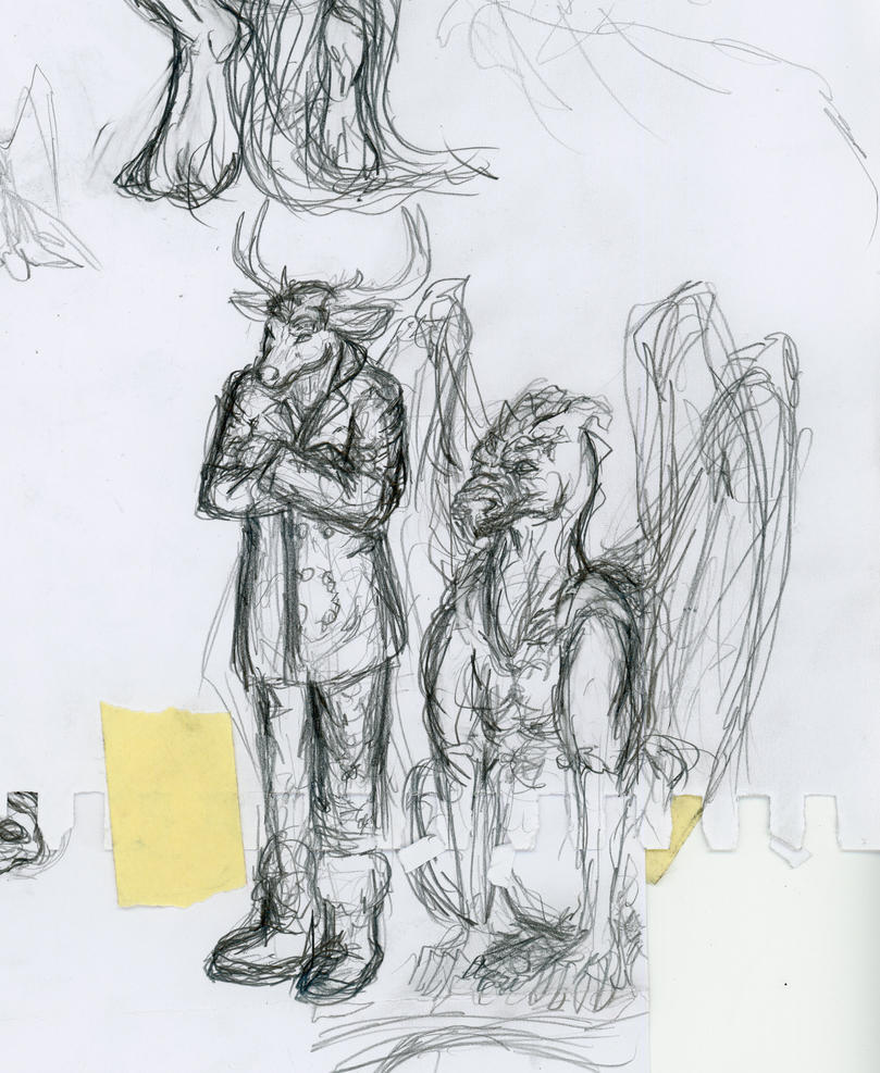 Sketch of Drayas and Zinn by Nessbeast