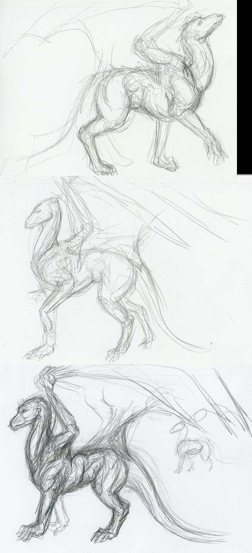 three dragon sketches by CheshireKhoshekh