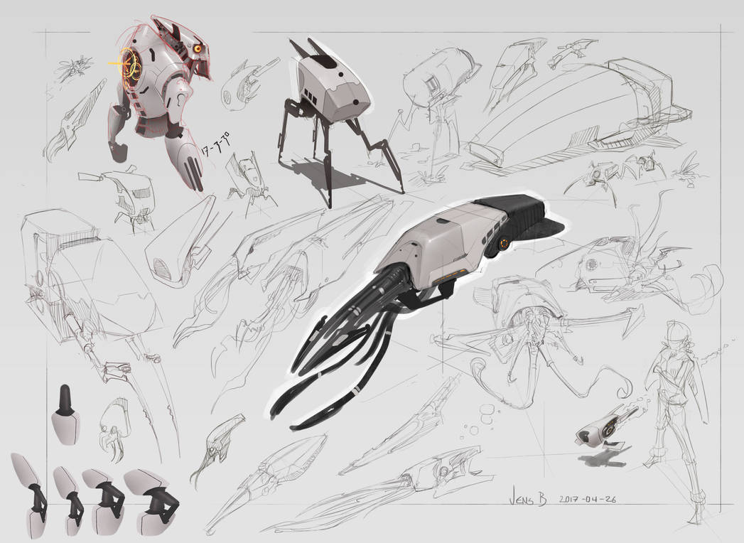 Sketchpage of mech things by CaconymDesign