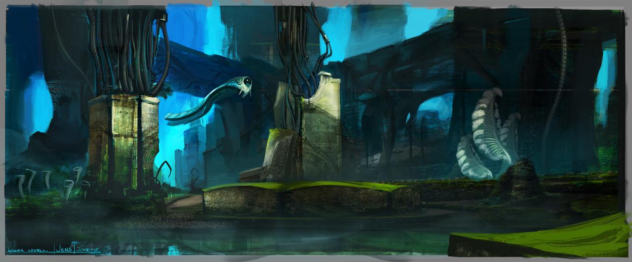 Brainpunk Alien World - Ruins by CaconymDesign