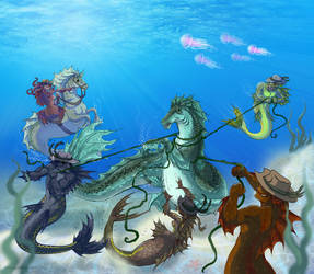 Commission: Mermaid Wranglers by Bilious