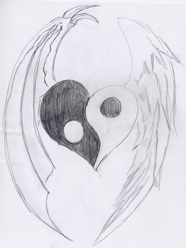 Hearts of Drawings with wings catalog photo