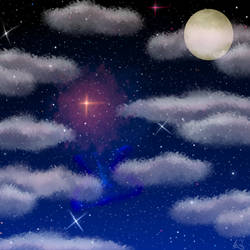 Space Background With Clouds And Moon