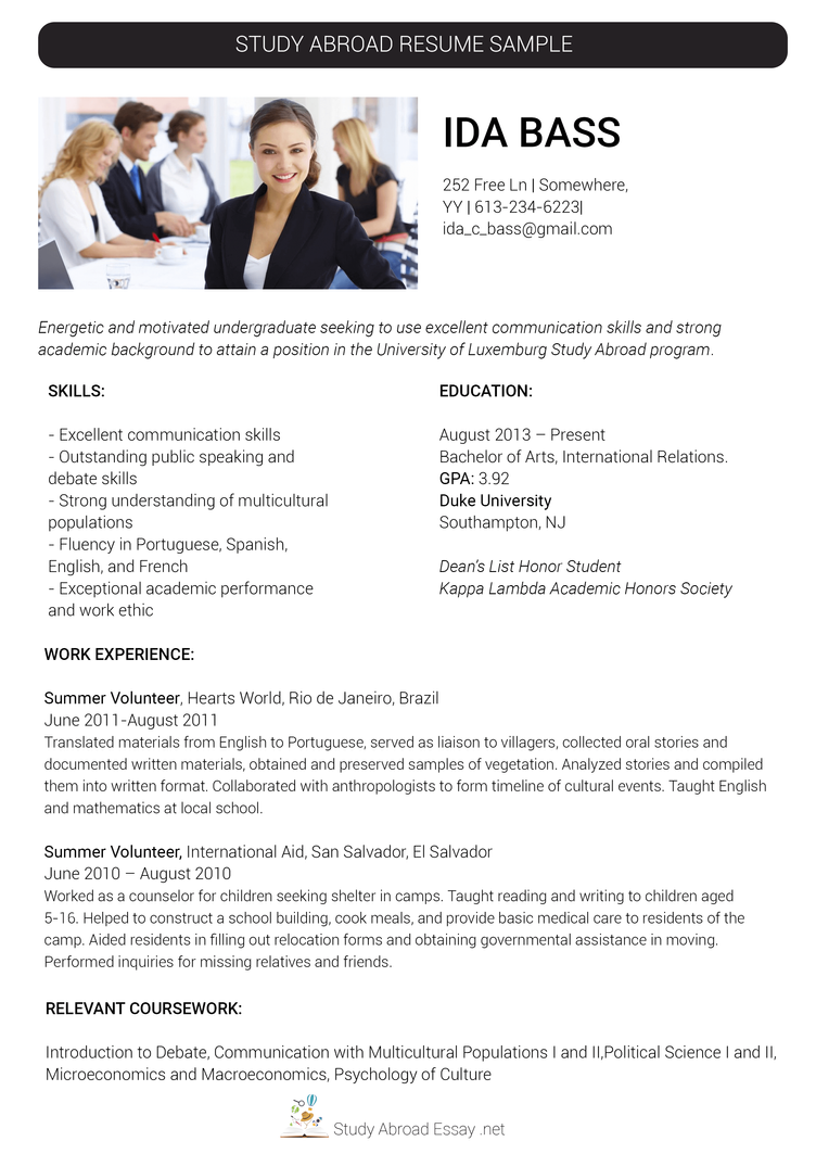 resume for abroad samples