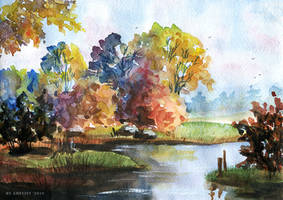 Watercolor autumn by Ametist-nyako