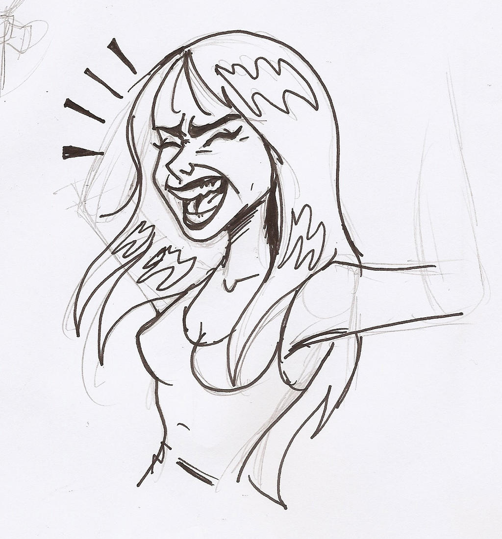 Laughing Girl Sketch by ticklegas