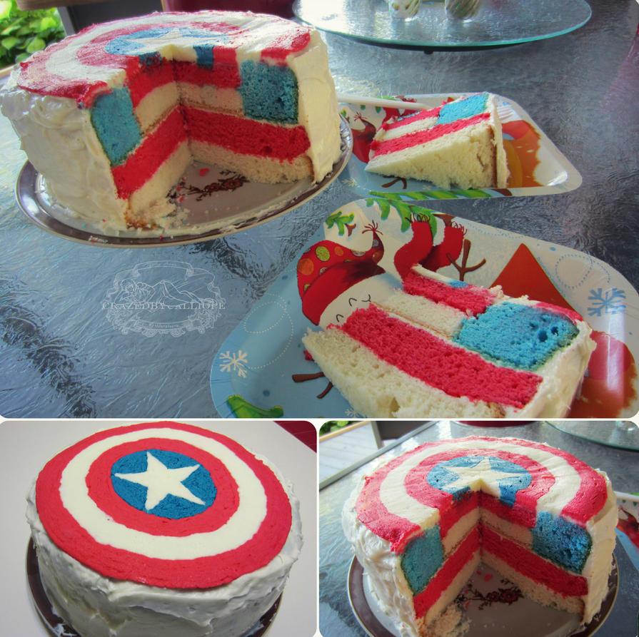 Captain America Cake by CrazedByCalliope