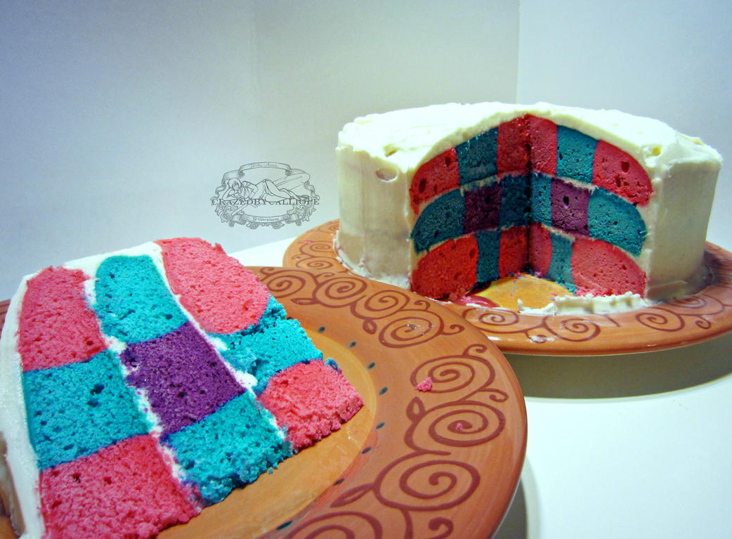 Quilted Bi-Pride Cake by CrazedByCalliope