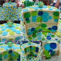 Polka Dot Baby Shower Cake (Link to Blog Added!) by CrazedByCalliope
