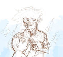 Taichi and Agumon - Friends forever - sketch by rayuzumaki