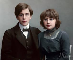 Marina Tsvetaeva with Sergei Efron by Nikmarvel