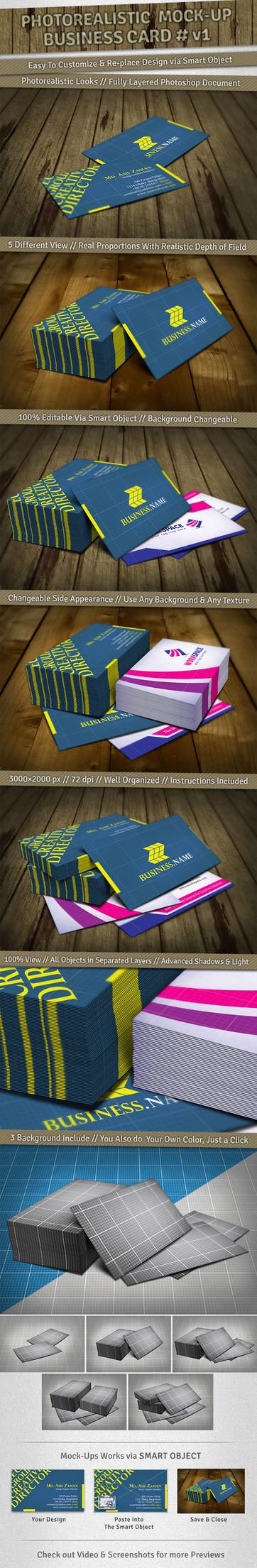 5 Mockups : Photorealistic Business Card v1 by femographi