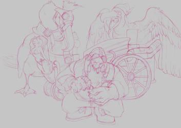 Dwarf, Cormorant, and air ship