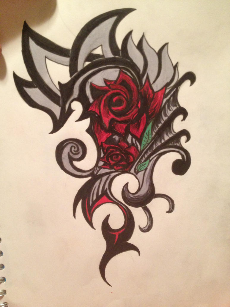 rose tribal tattoo by swimangel7673 on deviantart. Black Bedroom Furniture Sets. Home Design Ideas
