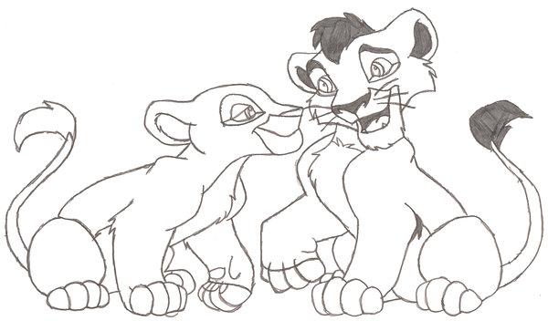Cubs Kovu And Kiara Lineart By Tozumi T Grayson On Deviantart