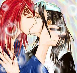 kiss scene by nezumikun