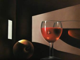 La pomme et le verre de vin rouge by Lesaupastel