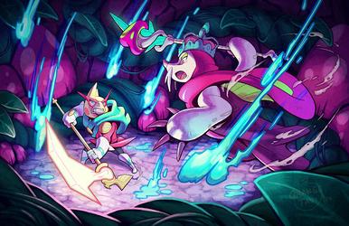 Rockatiel vs Moleshroom King by Orangetavi