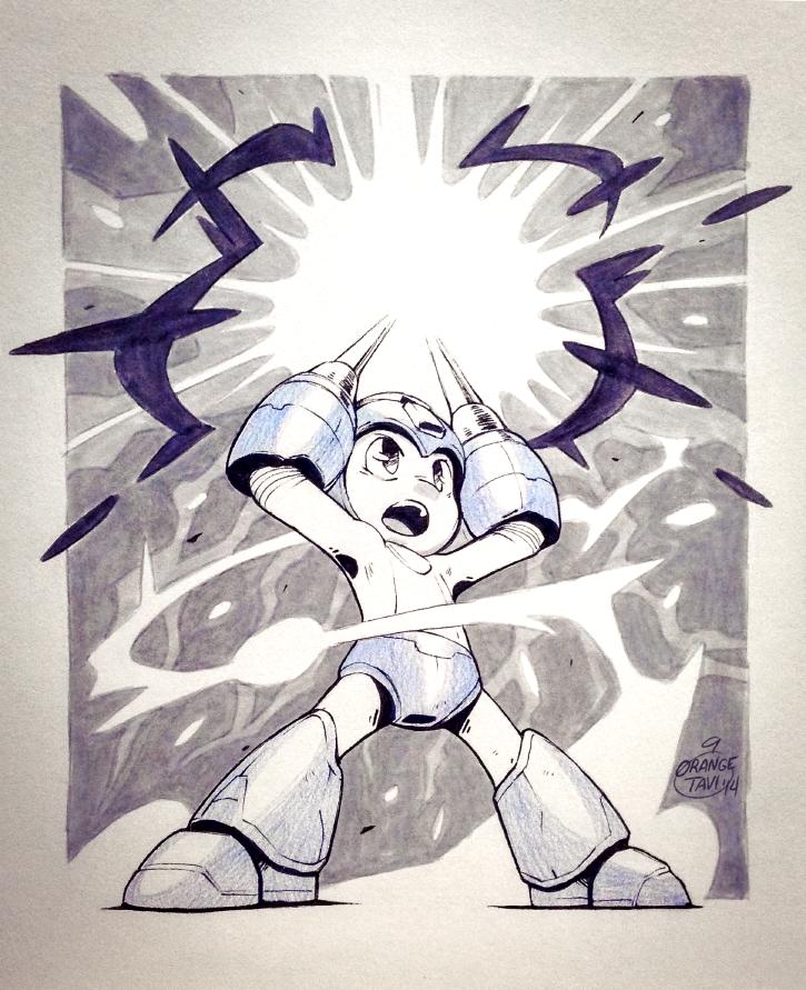 Inktober 01: Mega Man by Orangetavi